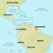 Suriname : carte de situation